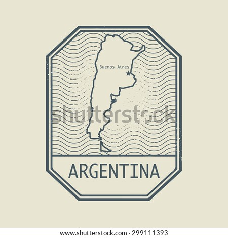 Stamp with the name and map of Argentina, vector illustration - stock vector