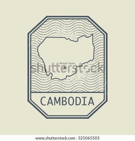 Stamp with the name and map of Cambodia, vector illustration - stock vector