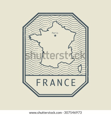 Stamp with the name and map of France, vector illustration - stock vector