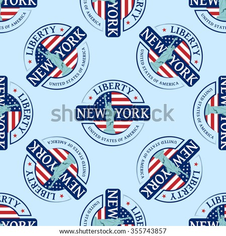 Stamp with the Statue of Liberty and New York. Seamless pattern, can be used in textiles, for book design, website background. - stock vector