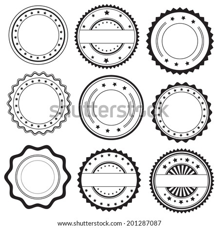 Stamps and decorative stickers icons, set, graphic design elements, black isolated on white background, vector illustration. - stock vector