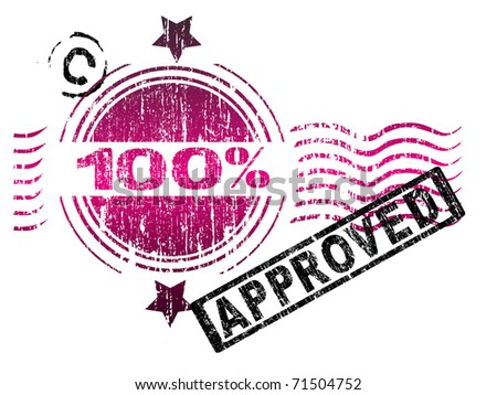 Stamps - 100% Approved. Letters have been uniquely designed and created by hand, with a grunge overlay - stock vector