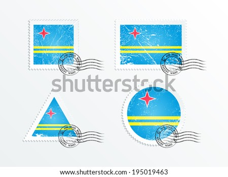 Stamps with the image of the flag. Stamp with flag. Triangular stamp, stamp rectangular, round stamp, square stamp. Flag of Aruba. Mark in grungy style. Battered mark. Old label. - stock vector