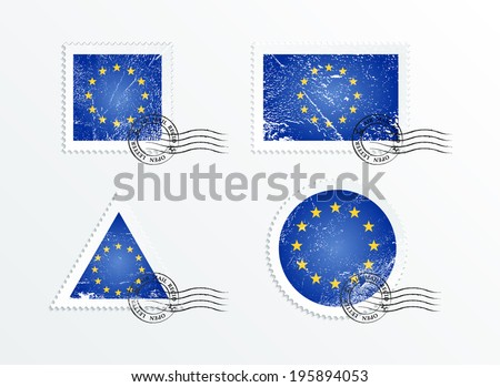 Stamps with the image of the flag. Stamp with flag. Triangular stamp, stamp rectangular, round stamp, square stamp. Mark in grungy style. Battered mark. Old label. European Union flag - stock vector