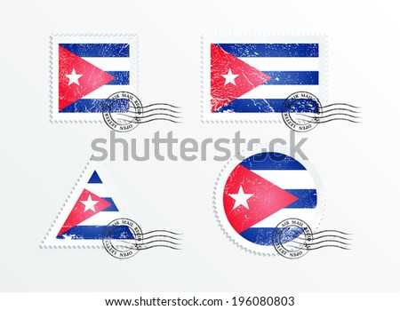 Stamps with the image of the flag. Stamp with flag. Triangular stamp, stamp rectangular, round stamp, square stamp. Mark in grungy style. Battered mark. Old label. Flag of Cuba - stock vector