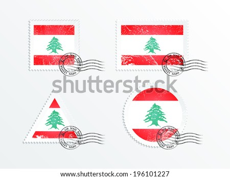 Stamps with the image of the flag. Stamp with flag. Triangular stamp, stamp rectangular, round stamp, square stamp. Mark in grungy style. Battered mark. Old label. Flag of Lebanon - stock vector