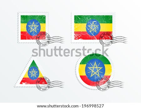 Stamps with the image of the flag. Stamp with flag. Triangular stamp, stamp rectangular, round stamp, square stamp. Mark in grungy style. Battered mark. Old label. Flag of Ethiopia - stock vector
