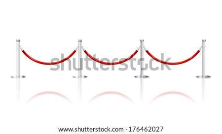 stanchions barrier isolated on white  - stock vector
