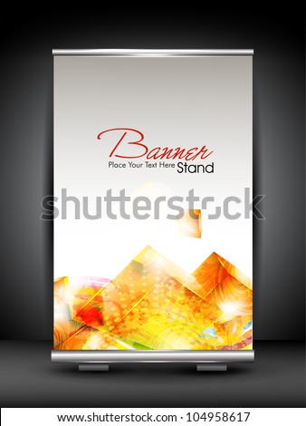 Stand banner with roll up display for product promotion or template design. EPS 10, editable vector illustration. - stock vector