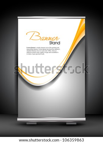 Stand banner with roll up display for product promotion or template design with shiny grey wave pattern. EPS 10 - stock vector