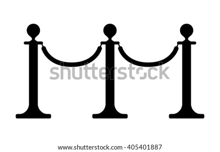 Stand barrier / stanchion ropes flat icon - stock vector