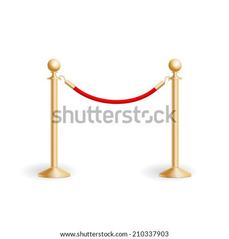 Stand rope barriers, vector illustration - stock vector