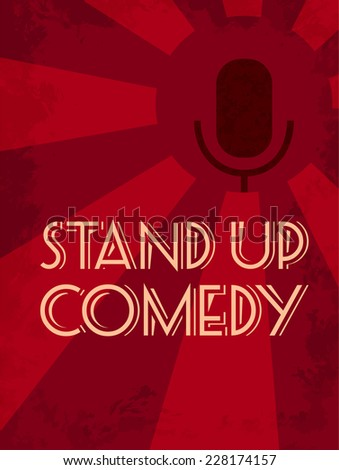 Stand up comedy event poster. Retro style vector illustration of dark silhouette of microphone at red starburst textured background. - stock vector
