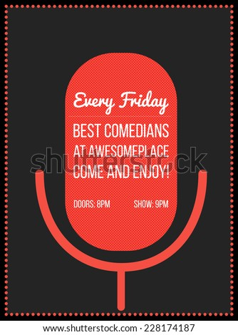 Stand up comedy event poster. Vector illustration of red microphone's silhouette with text. - stock vector