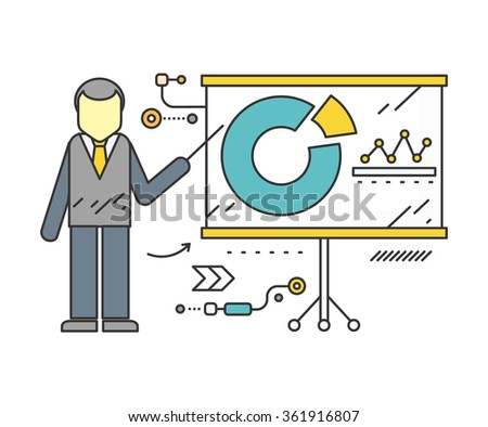 Stand with charts and parameters. Business concept of analytics. Poster banner on white background. Presentation and analysis, rating and performance indicators. Man near stand. Data analysis - stock vector