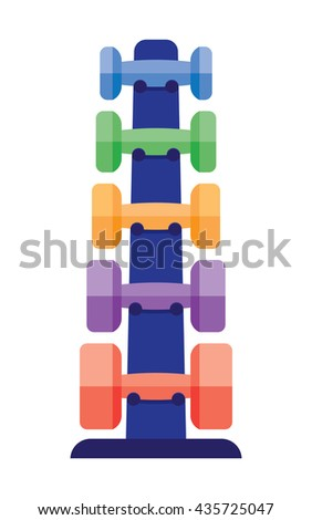 Stand with dumbbells stack in a gym center as indoor workout activityequipment gym health workout. - stock vector