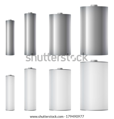 Standard batteries of different sizes vector template. - stock vector