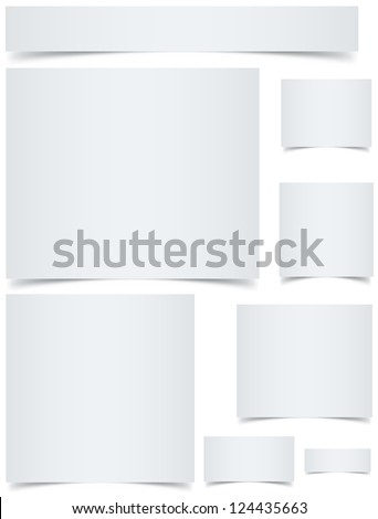 Standard sized blank web banners with curled edges effect isolated on white background. - stock vector