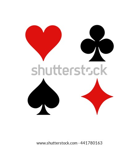 Standard suits for playing cards. Hearts, Clubs, Spades, Diamonds. - stock vector