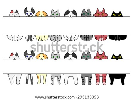 standing and sitting cats with board in their mouths - stock vector
