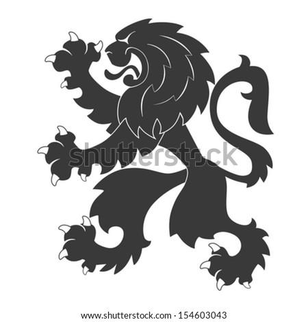 Standing Black Heraldic Lion - stock vector