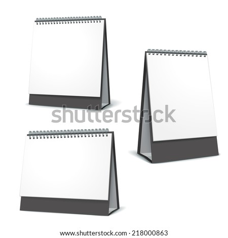 standing blank calendar set isolated on white background - stock vector