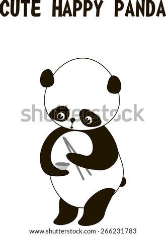 Standing cute little panda bear isolated on a white background, vector illustration. Panda eating rice with chopsticks - stock vector