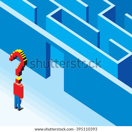Standing in Front of the Maze Quest - stock vector