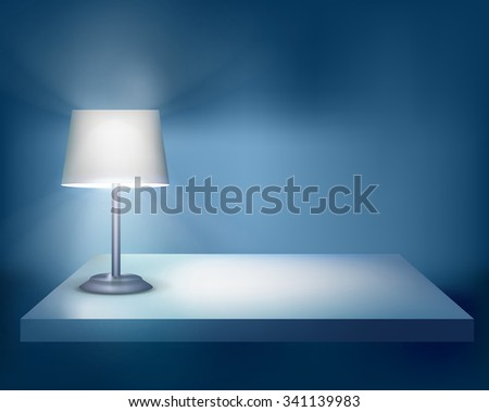 Standing lamp on the table. Vector illustration. - stock vector