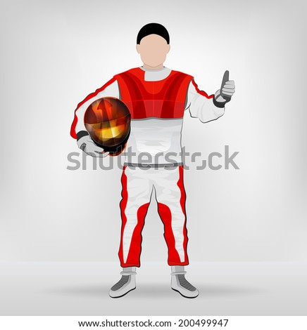standing racer holding helmet with thumb up vector illustration - stock vector