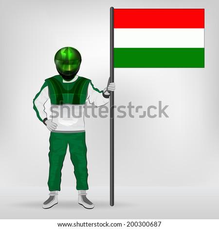 standing racer holding Hungarian flag vector illustration - stock vector