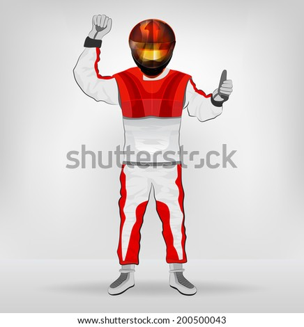 standing racer in helmet with one hand in air illustration - stock vector