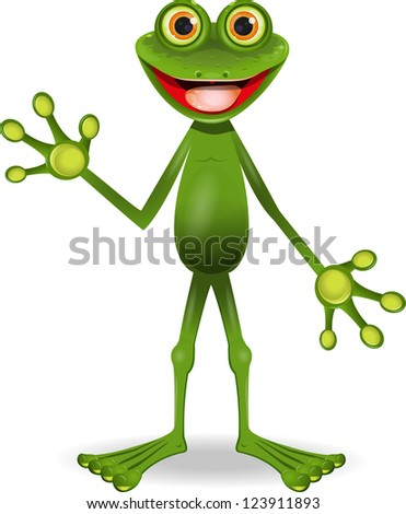 standing very cheerful frog with big eyes - stock vector