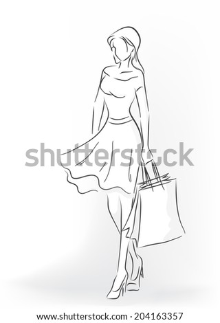 Standing woman with shopping bag in full length. Woman are in dress and court shoes. Vector black and white image drawn by lines - stock vector
