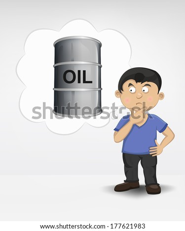 standing young boy thinking about oil commodity vector illustration - stock vector