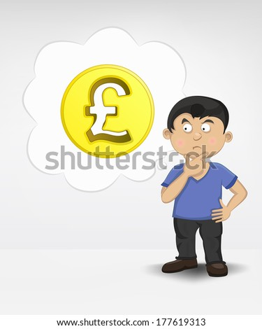 standing young boy thinking about Pound money business vector illustration - stock vector