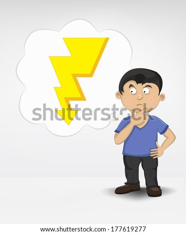 standing young boy thinking about shock vector illustration - stock vector