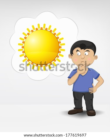 standing young boy thinking about summer sun vector illustration - stock vector