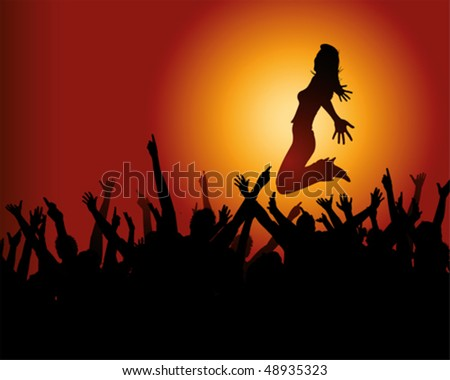 star and jubilant crowd - stock vector