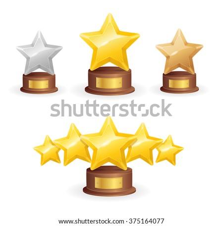 Star Award Set. Single and Five. Vector illustration - stock vector