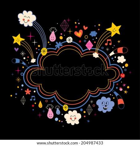 star bursts cartoon cloud shape banner frame background - stock vector