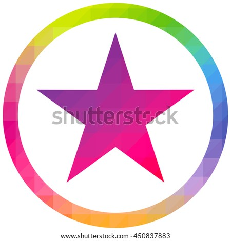 Star colourful logo icon vector round isolated - stock vector