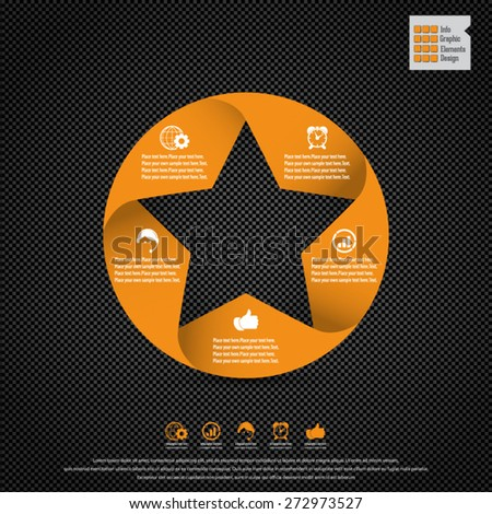 Star design template and infographics on carbon fiber background. Display information with original and modern style. All elements in separate layers - background,star shape,infographics text. - stock vector