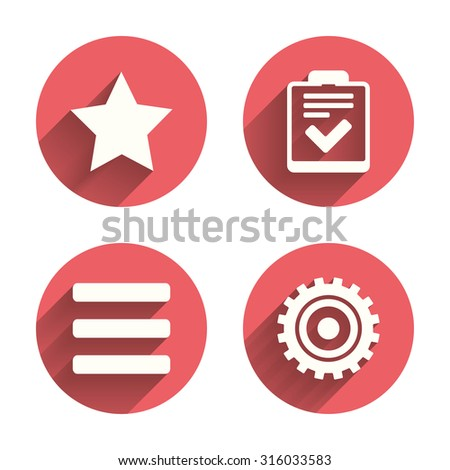 Star favorite and menu list icons. Checklist and cogwheel gear sign symbols. Pink circles flat buttons with shadow. Vector - stock vector