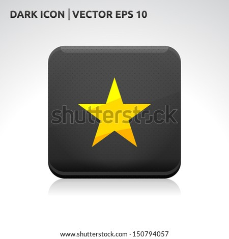 Star favorite icon | color dark black gold yellow | icon set | abstract vector symbol | template design | shadows shiny | business button | abstract 3d - stock vector