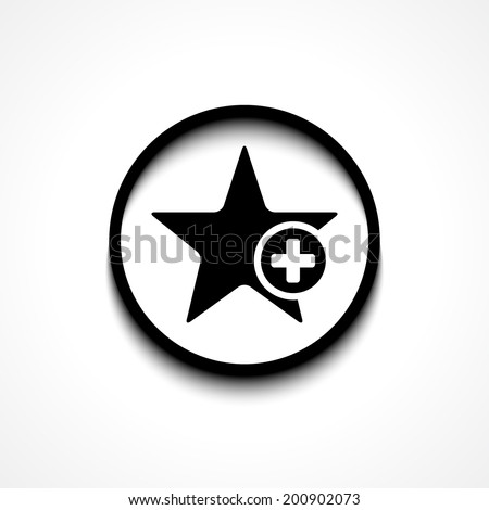 Star favorite sign web icon with plus glyph. Vector illustration design element eps10 - stock vector