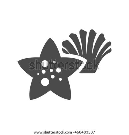 Star fish icon in black and white grey single color. Sea animal creature cute - stock vector