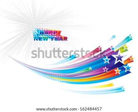 Star flowing New Year background. - stock vector