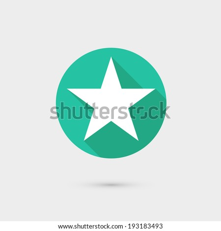 star icon long shadow flat design vector illustration - stock vector