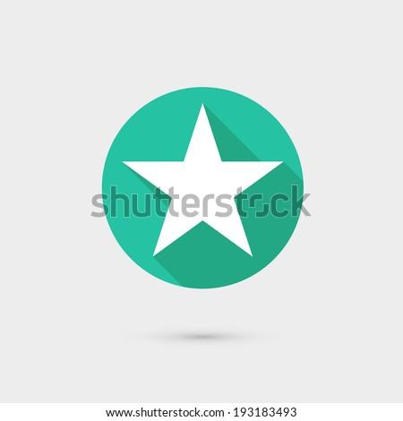 star icon long shadow flat design vector illustration - stock vector